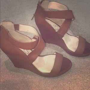 Jessica Simpson cognac platform sandals